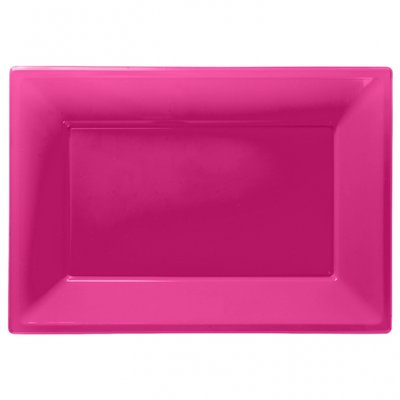 Rosa uppläggningsfat i plast - 3 st