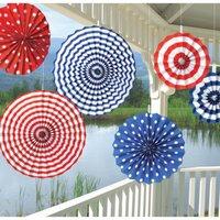 Röd, vit med blå papperssolfjädrar - 40cm - 6 st