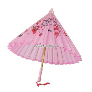 Parasoll i rosa silke