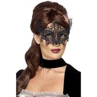 Broderad spets mönstrad ögonmask svart