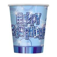 Pappersmuggar - Happy birthday glitz blå - 27 cl 8 st