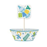 Cupcake kit - Blå baby shower 24 st
