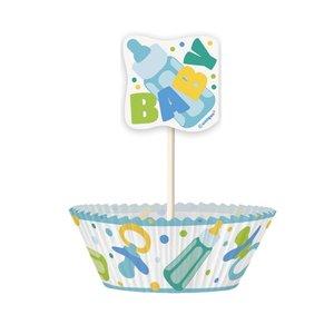 Cupcake kit - Blå baby shower 24 st