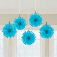 Blå hängande solfjäder dekorationer - 15.2cm - 5 st