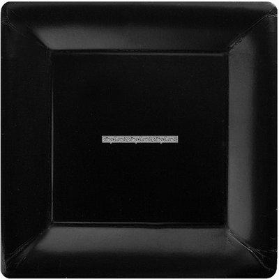 Jet svarta fyrkantiga papperstallrikar