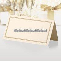 Placeringskort elfenben- & guldfärgade - 50 st