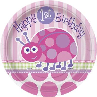 Desserttallrikar - Nyckelpiga 1-års födelsedag 17 cm 8 st
