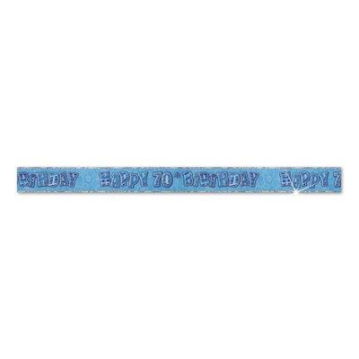 70-års födelsdagsbanderoll - blå - 3,65m
