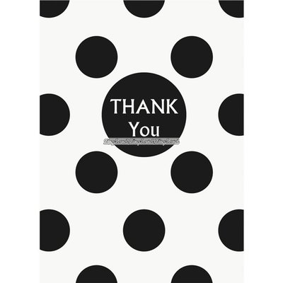 Svarta prickiga thank you - tackkort - 8 st