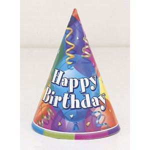 Partyhattar - Happy birthday ballongtema 8 st