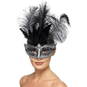 Venetiansk Colombina - ögonmask med svarta fjädrar