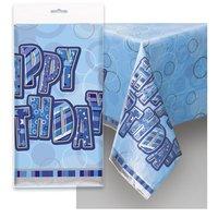 Blå bordsduk i plast Happy birthday - 137cm x 213cm