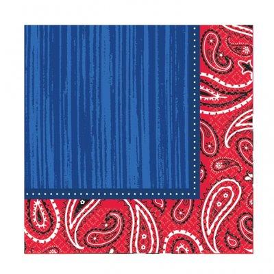 Bandana & Blue Jeans - Pappersservetter till fest 33 cm - 16 st