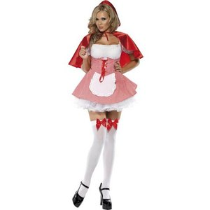 Rödluvan - maskeraddräkt kort klänning