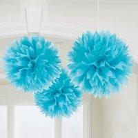 Blå pom pom dekorationer - 40cm - 3 st