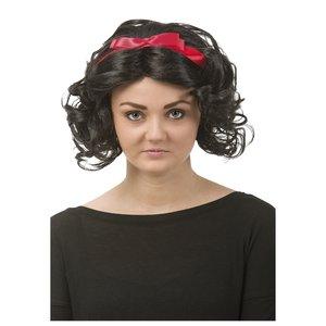 Svart peruk med hårband