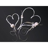 Hjärtan med rosett - Gräddfärgad 2 st