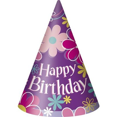 Partyhattar - Happy birthday blommor 8 st