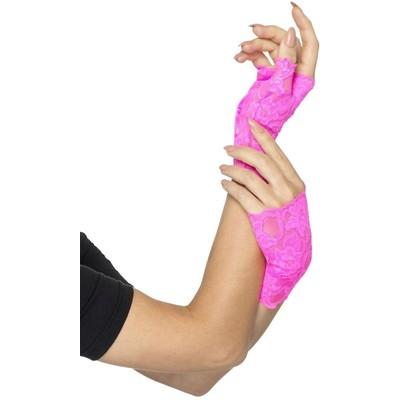 80-talet Fingerlösa spets handskar - Neon rosa