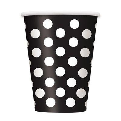 Svarta prickiga pappersmuggar - 340 ml - 6 st